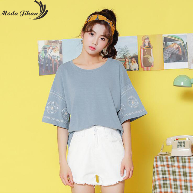 b49ac1b4d7a2 Moda Jihan New Women T-Shirts Cotton Wide Short Sleeve TShirts Back Hollow  Out Tops Summer Cool Tee Ethnic Embroidery Loose Tees