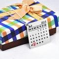 925 de Plata Maciza Collar Grabado Calendario Fecha Corazón Salvar Día Pendiente Mano Sello de Encargo de La Joyería
