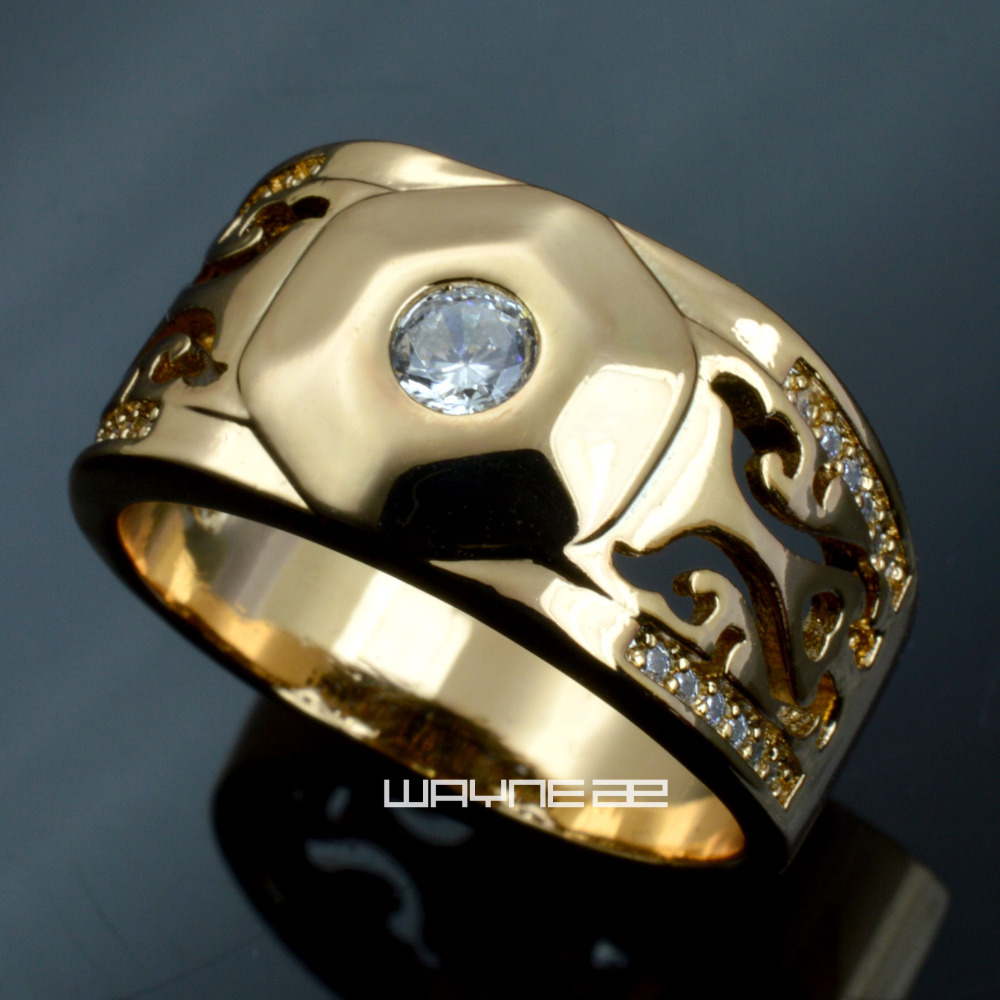 Men Gold filled wedding engagement ring band R285 Size 8 9 10 11 12 13 14 1
