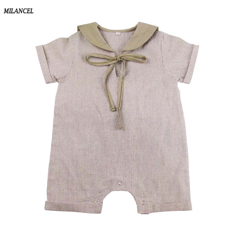 MILANCEL 2018 Baby   Rompers   Sailor Collar New born Baby Girl Clothes Cute Baby Boy Jumpsuits Cotton Baby onesie for 0-2y