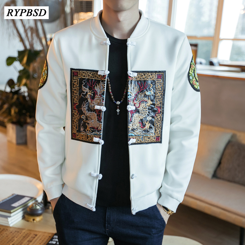 2019 Autumn Chinese Men Coats Chinese Style Dragon Slim Fit Embroidery Bomber Jacket Classic Vintage Long Sleeve Jackets Men 5XL