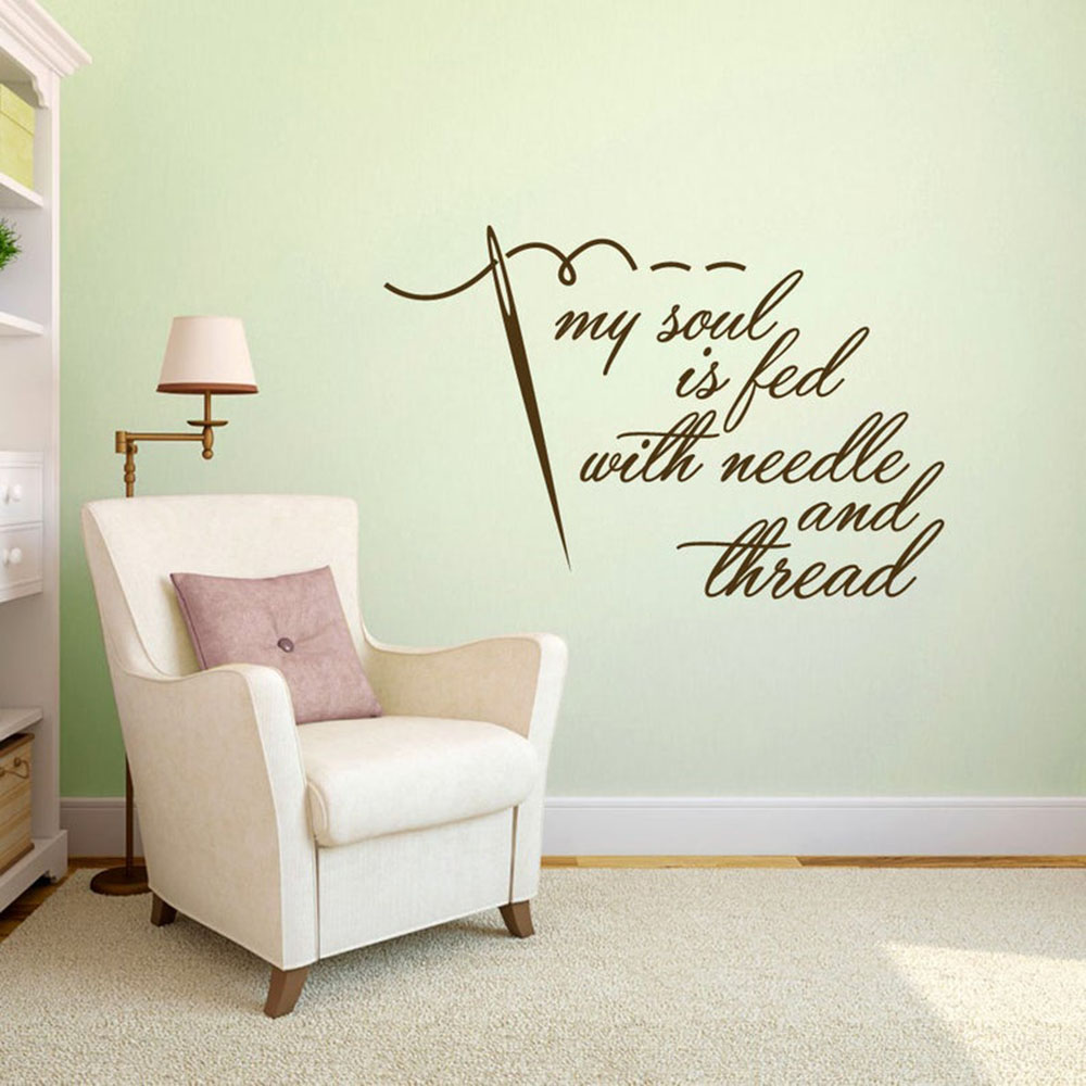 My Soul Is Fed With Needle And Thread Wall Decal Sewing Crafting Quilting Hobby Quote Removable Wall Art Vinyl Wall Sticker S113