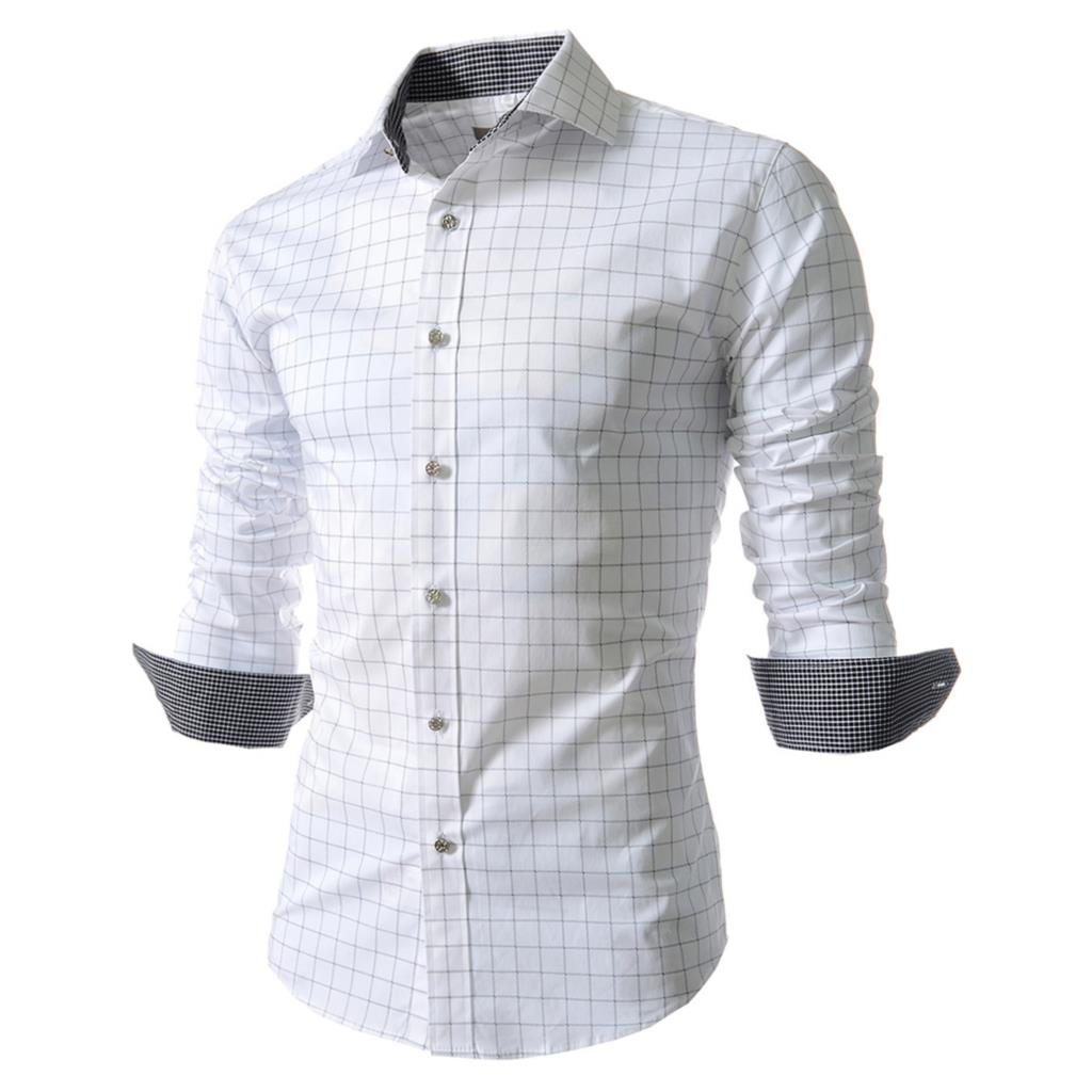 15f232e2 Men Shirt Fashion Plaid Shirt Long Sleeve Flannel Business Shirt Checkered  Dress Slim Stylish Mens Casual Shirt white