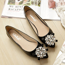 Female Office Shoes Crystal Plus Size 33-43 Pointed Toe Women Sandals Rhinestone Ballet Flats Comfortable Ladies Party Shoes