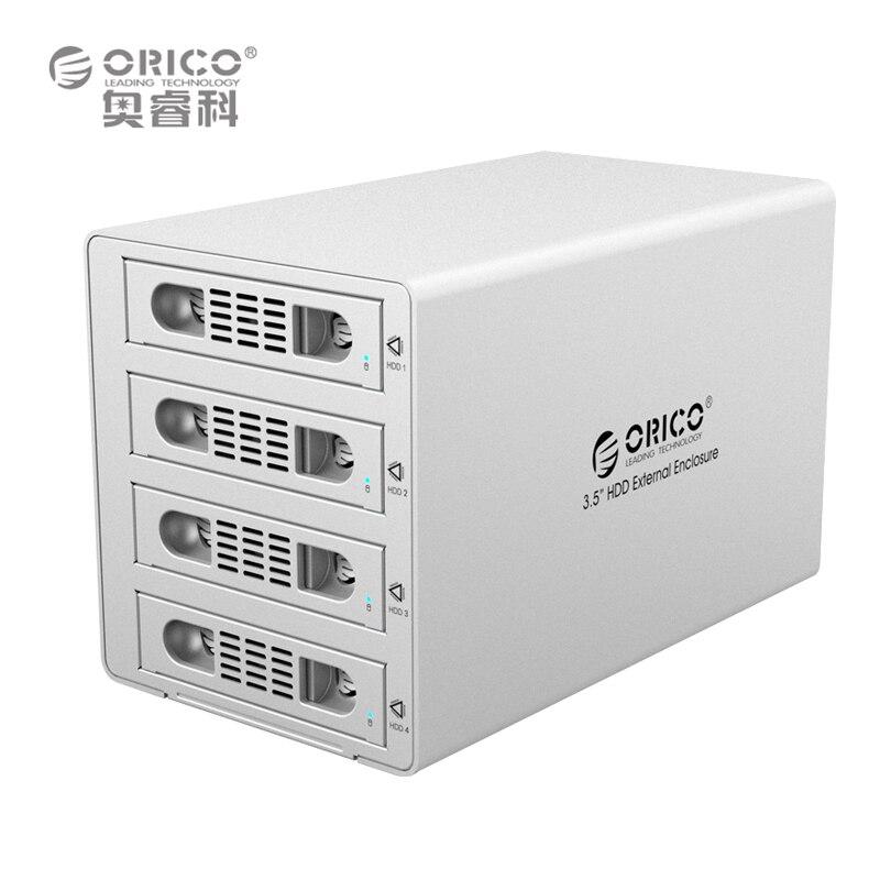ORICO 3549RUS3 Tool Free Aluminum 4 Bay 3.5 SATA3.0 USB3.0 & eSATA HDD External Docking Station RAID Function 4bay HDD Case