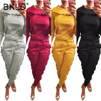 BKLD Two Piece Tracksuit Set Women Patched Ruffles Tops+Bodycon Pants Set 2018 Solid Fashion O neck Long Sleeve Casual Sweatsuit