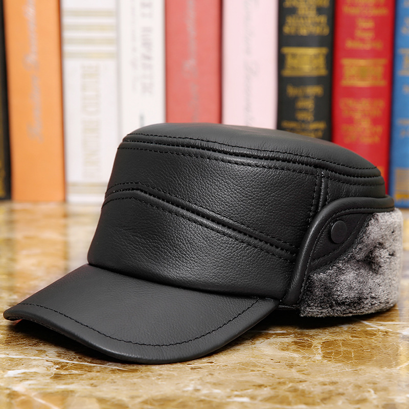 f1b02a4b In the old man winter warm fur leather ear flat outdoor cattle peaked cap  hat