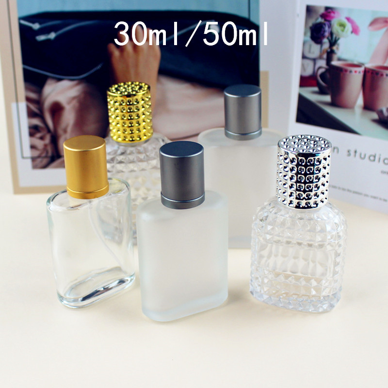30ml 50ml 100ml High Quality Clear Glass Spray Bottle Frosted Square Glass Perfume Bottle Cosmetic Packaging Bottle Vials