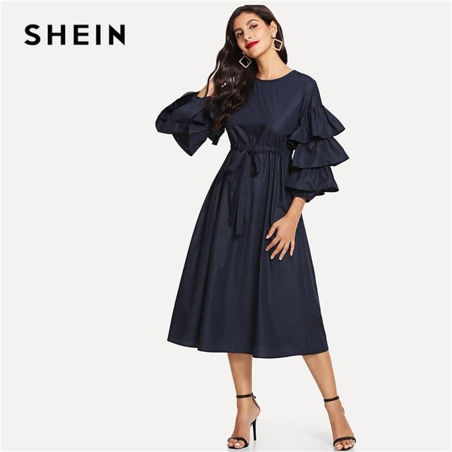 SHEIN Navy Elegant Layered Flounce Sleeve Keyhole Back Round Neck Belted  High Waist Dress Summer Women fe7be37bddbf