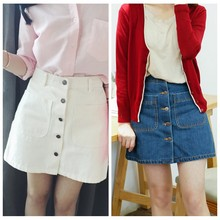 ff72f2cb66 Nueva verano Mujer falda lápiz falda de Jeans botón cintura alta Denim  bolsillos pequeños blanco negro