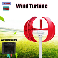 400W 12V 24V 5 Blades Wind Turbine Generator Power Vertical Axis Red Lantern Type Nylon?Fiber with Waterproof Charge Controller