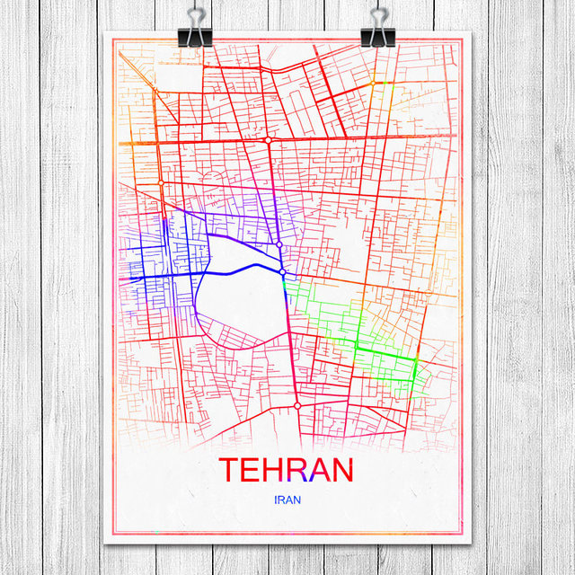 TEHRAN Iran Colorful World City Map Print Poster Abstract Coated Paper Bar Cafe Pub Living Room Home Decoration Wall Stickers