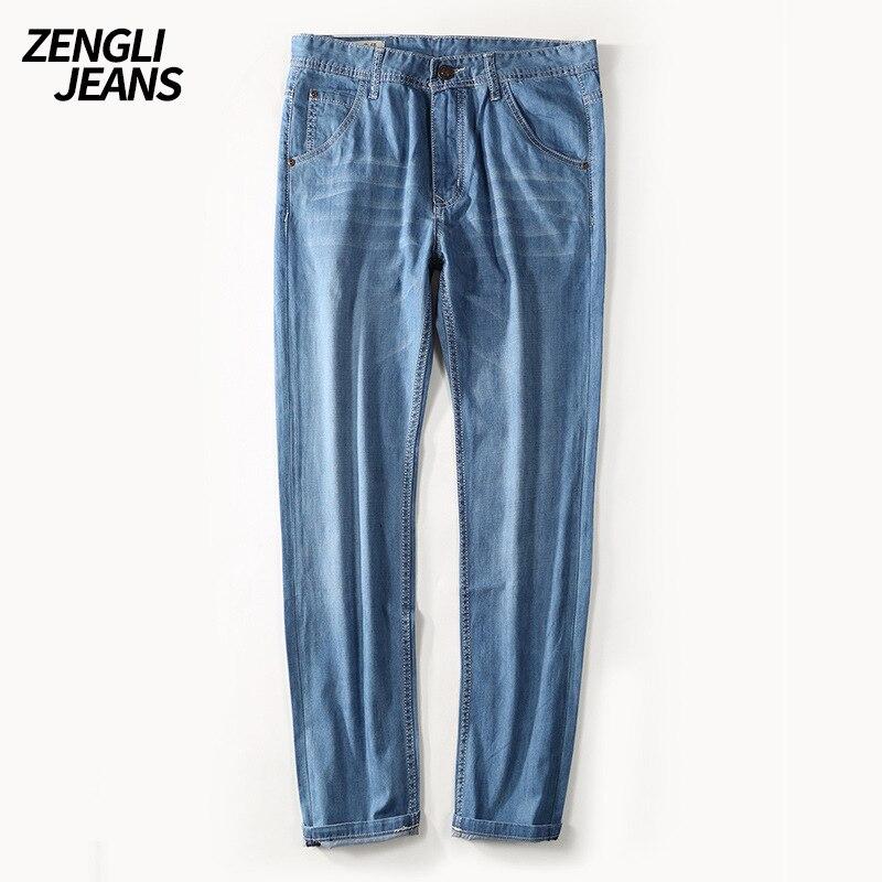 ZENGLI Brand Jeans Men Pure Cotton Denim Pants Casual Loose Jean Straight Plus Size Breathable Elastic Comfortable Male Trousers