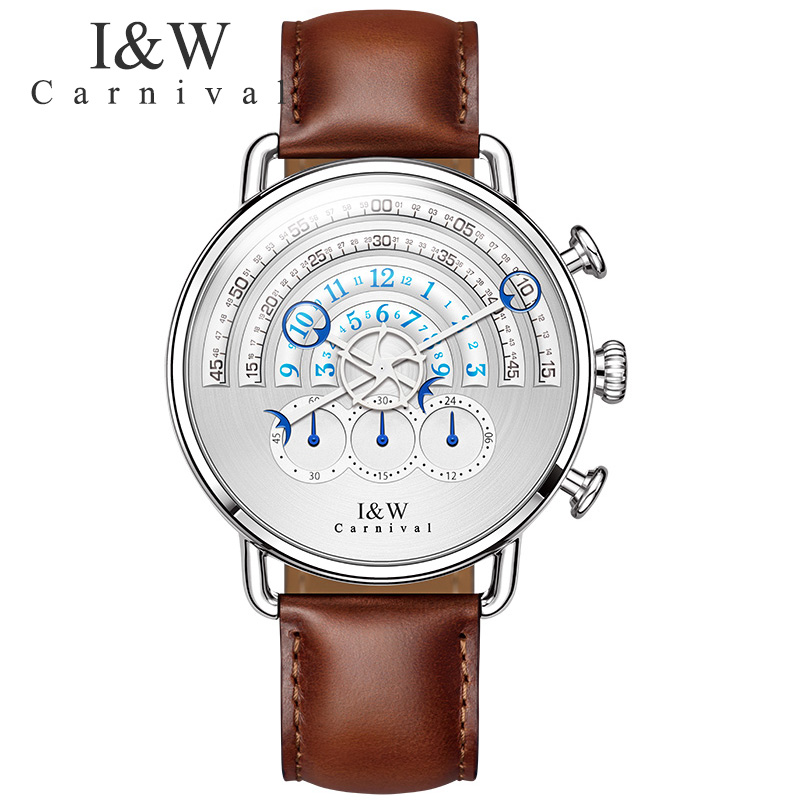 New Carnival Men Chronograph Business Multifunction Quartz Wrist Watch Stainless steel Leather Wristwatches Sapphire Crystal