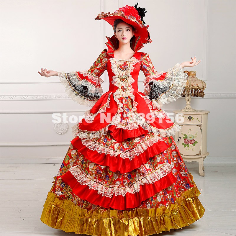 New Arrival Red 18th Century Costume Renaissance Marie Antoinette Southern Belle Dress Mardi Gras/Carnival Party Dress