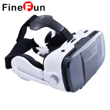FineFun 3D VR Game Video Movie Glasses Virtual Reality Google Cardboard Headphone Speaker Button For 4.0-6.3″ Smartphone