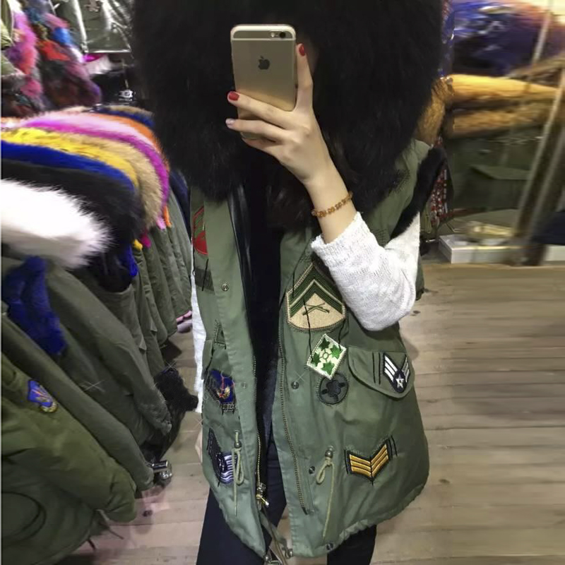 2015 new badge logo jacket coat women's street fashion Large color raccoon fur collar hooded army green vest plus size outwear - IDY BEAUTY store