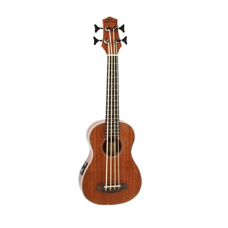 30 pouces uku Mini guitare électrique ukulélé 4 cordes basse Instruments de musique plein Sapele rétro bouton fermé Guitarra vente en gros