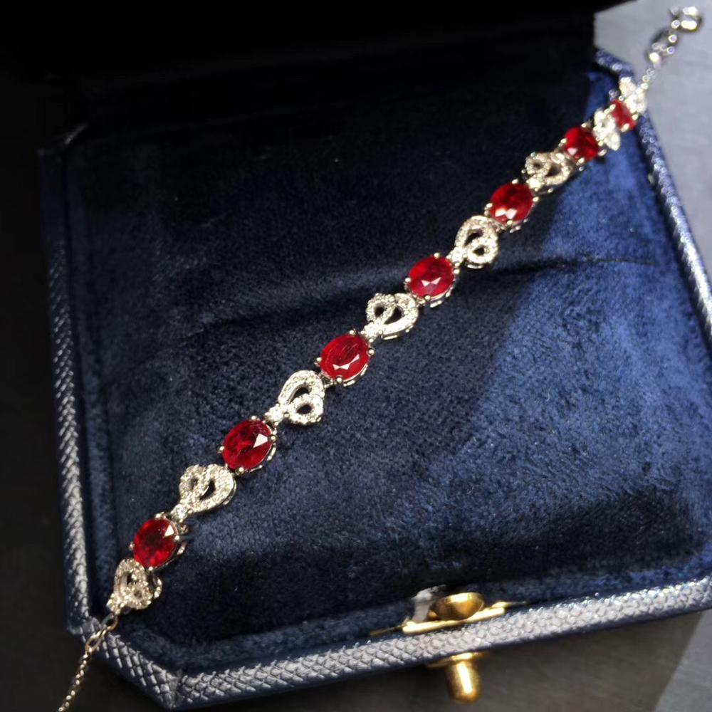 Bijoux fins véritable or blanc 18K AU750 G18K pierres précieuses rubis rouge naturel 3.1ct amour bijoux bracelets pour femme Bracelet fin