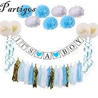1 Set Its A Boy Girl Baby Shower Tissue Paper Pom Poms Tassel Happy Birthday Banner