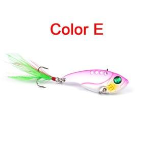 Image 5 - 1pcs Metal VIB 11G/5.5CM Fishing Lure Vibration Spoon Lure Crankbait Bass  Artificial Hard Baits with Feather Cicada VIB tackle