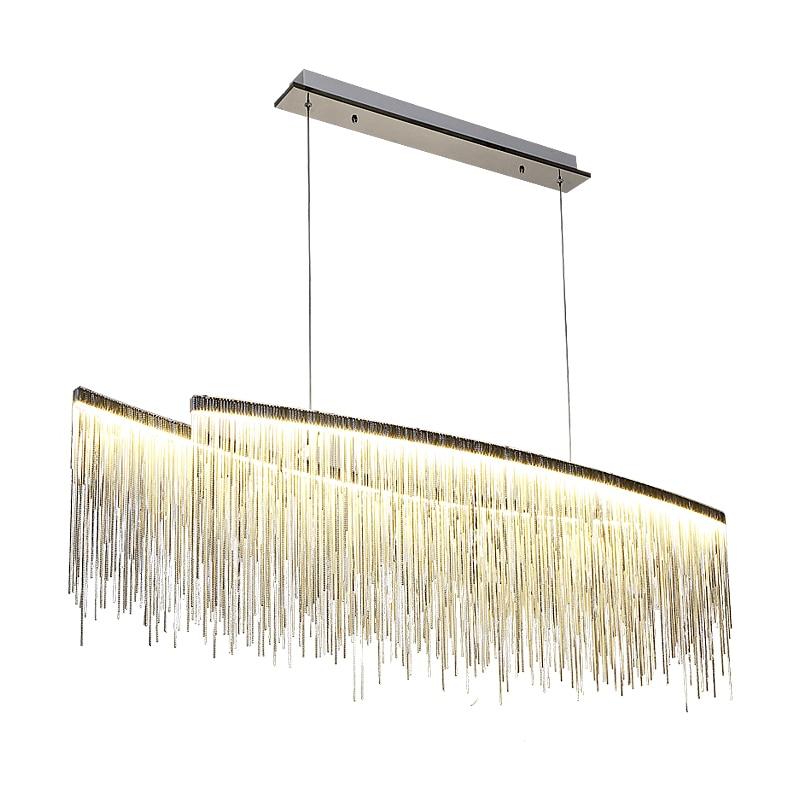 Post modern design Pendant Lights Nordic restaurant luxury hotel engineering living room art Kung chrome chain hanging lights