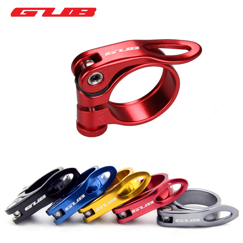 GUB Aluminum Ultralight Quick Release Road Bike MTB Mountain Bicycle Seat Post Seatpost Clamp 31.8mm 34.9mm 40g, 4Color bicycle seatpost 31 8 580mm for brompton yr yt folding bike aluminum seat post 345g bike parts