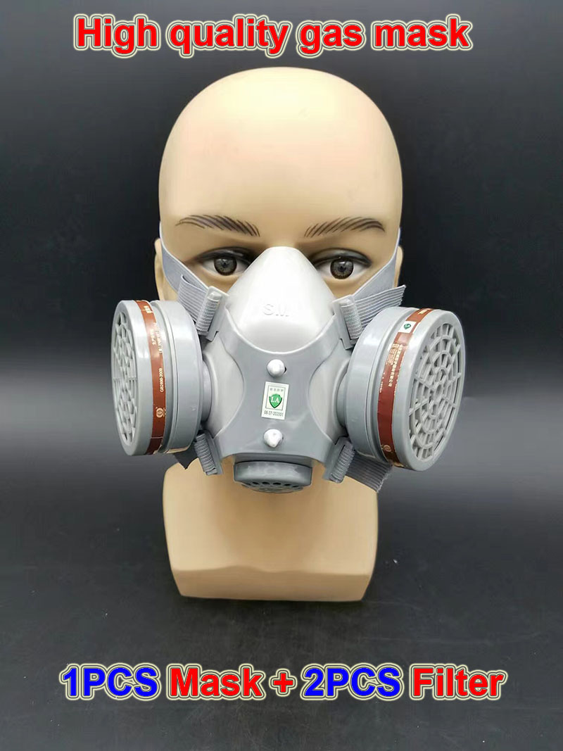 respirator gas mask Double cans Silica gel high quality protective mask against Spray paint chemical pollution filter mask high quality respirator gas mask provide silica gel gray protective mask paint pesticides industrial safety mask