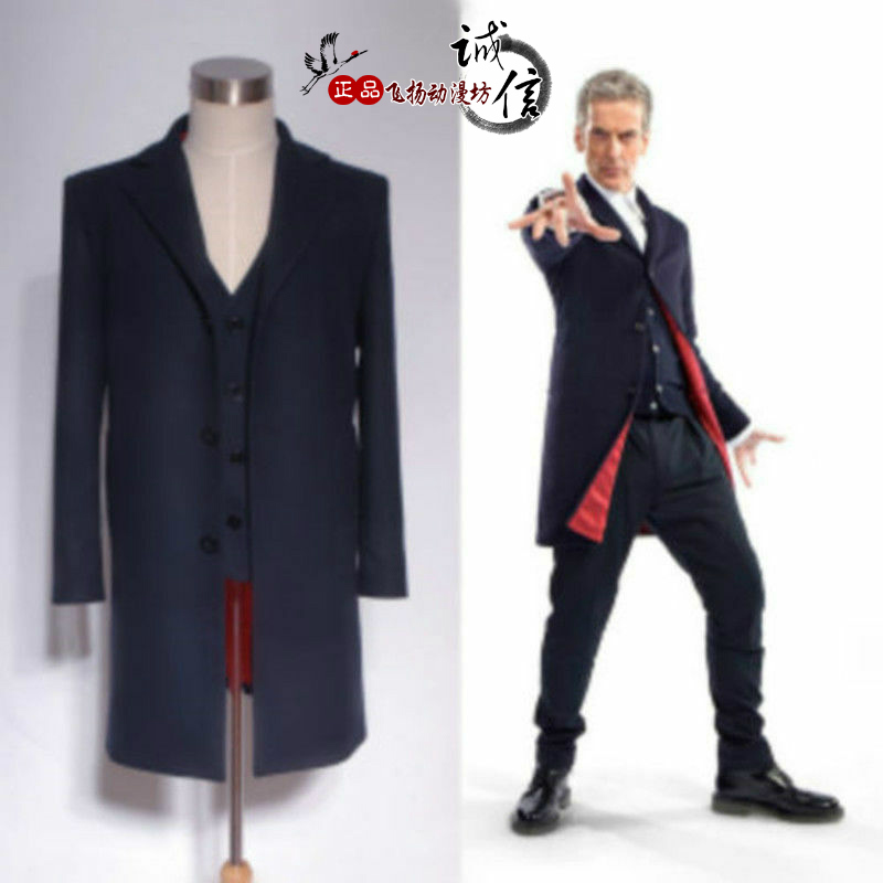Doctor Who Coat Suit Who Is Doctor Twelveth 12th Dr. Navy Black Frock Coat Halloween Carnival Cosplay Costume