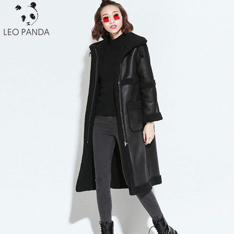Winter Warm Faux Pu   Leather   Inside Fur Sheepskin Parka 2019 Women Motorcycle Long Jacket Female Coat Black Bomber Biker Jackets