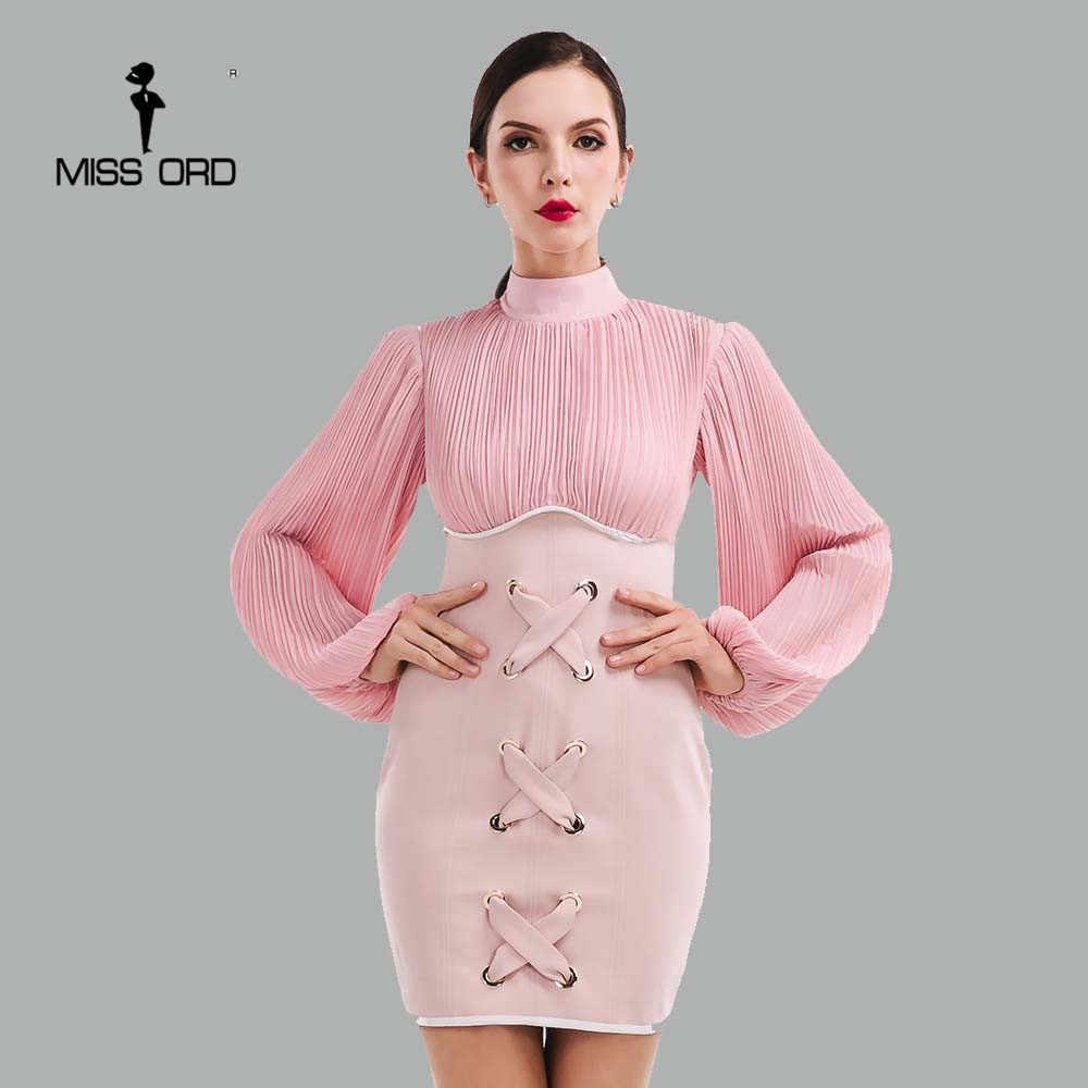 64f9a3b0ab0 Missord 2019 сексуальное платье с длинными рукавами и высоким воротником  FT4751