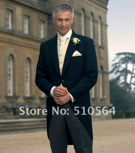 Wholesale Free shipping dark navy Groom suit morning coat Wedding ...
