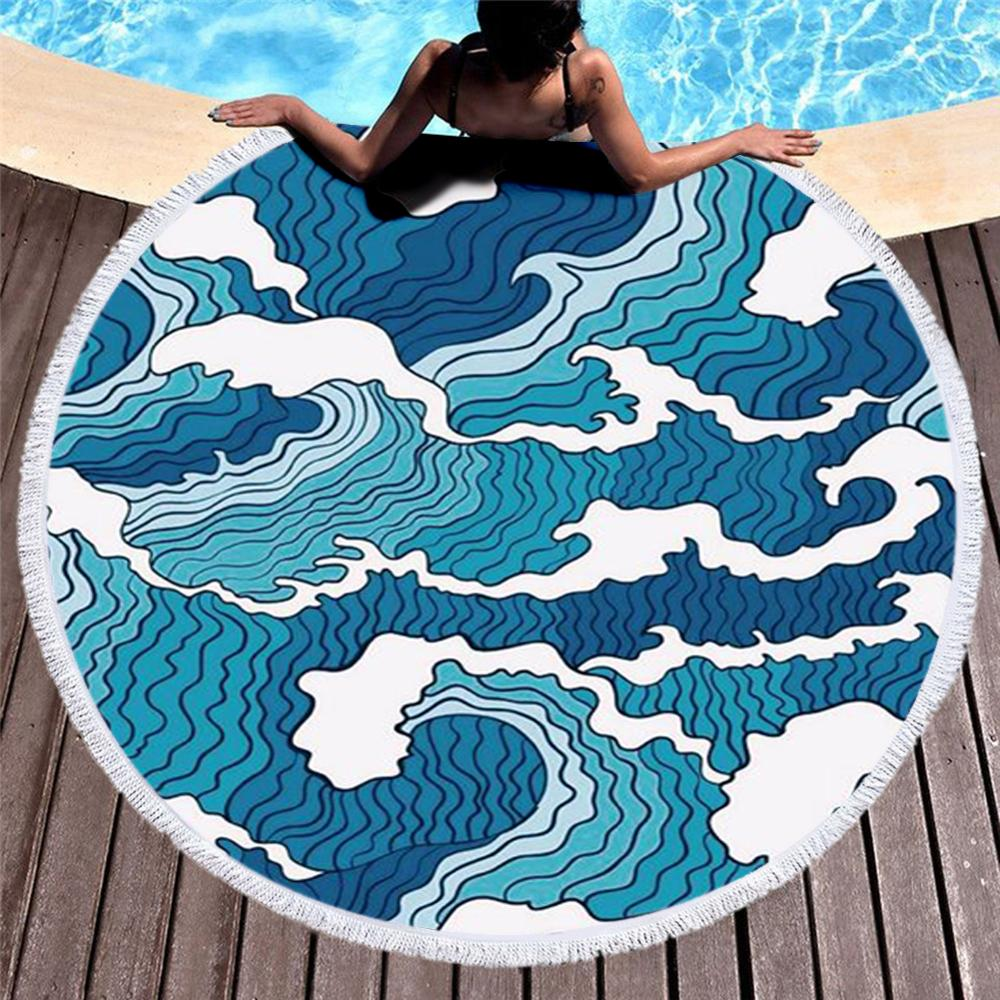 Round Beach Towel with Tassel  Japanese Famous Paintings The Great Wave  Towel Travel Picnic Blanket Yoga Mat Tapestry style-4