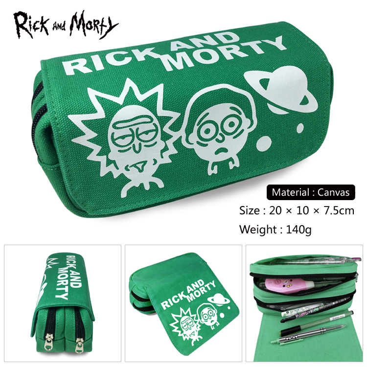 OHCOMICS Hot Anime Rick and Morty MEESEEKS Green Pencil Bag Pencil Case Box For Study School Learning Appliance Accessory