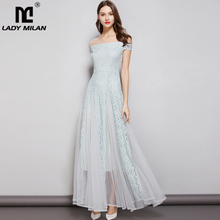 Lady Milan Womens Party Prom Slash Neckline Short Sleeves Sexy Off the Shoulder Embroidery Lace Patchwork Elegant Long Dresses