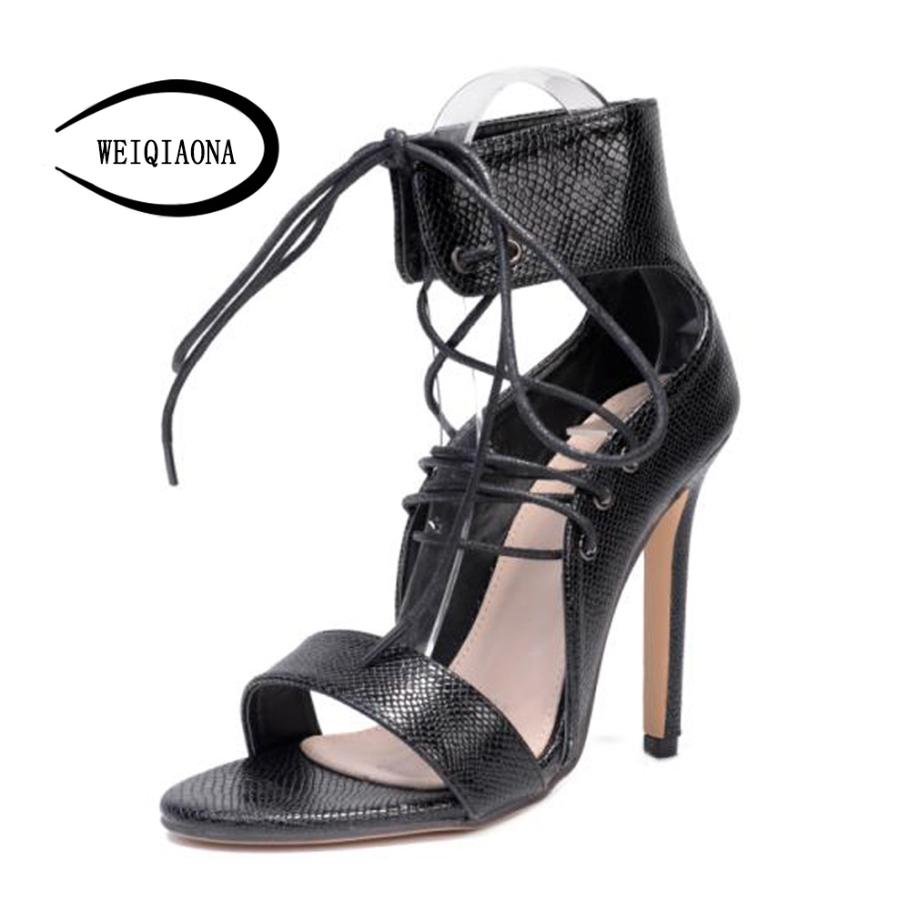 WEIQIAONA European 2018 Cross straps women's New fashion snake skin Cross tie high heel sandals Sexy Party shoes Dress shoes