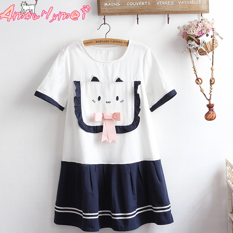 2018 Summer Women Cute Cotton Linen Dress Japanese Style Mori Girl Lolita Kawaii Cartoon Pocket Pink Bow Pleated Mini Dresses