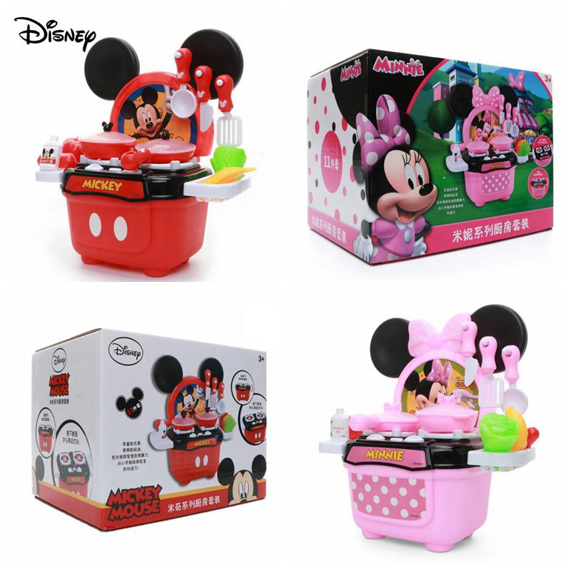 Disney LED Kitchen Toys Mickey Minnie PVC Cooktop Educational Kitchenware Birthday Pretend Children Original Gifts With Box