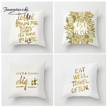Fuwatacchi Gold Foil Printing Cushion Cover Letter Flower Pillow For Decor Home Sofa Chair Decorative White Pillowcase