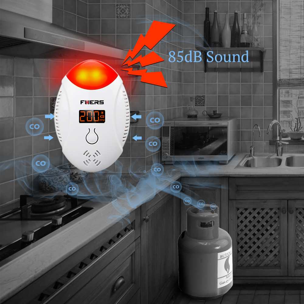 FUERS LED Digital Display CO Gas Detector For WG11 Voice Prompt Home Security Personal Safety  Carbon Monoxide Detector Alarm