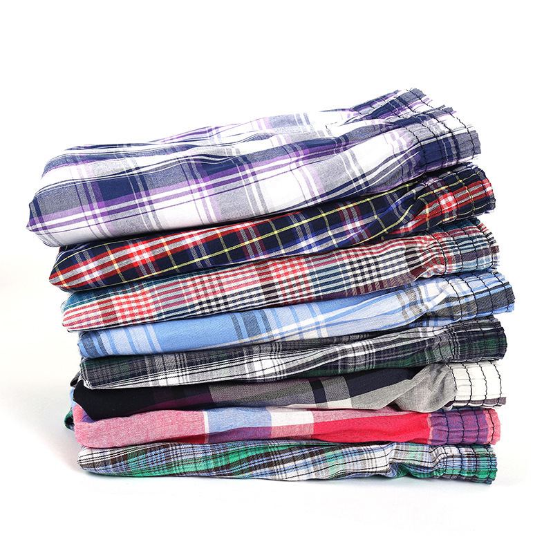 Summer New Men Fashion Lattice Elastic Waist Cotton Short Trousers Loose Casual Plaid Red Blue Green Shorts Male M L XXXL