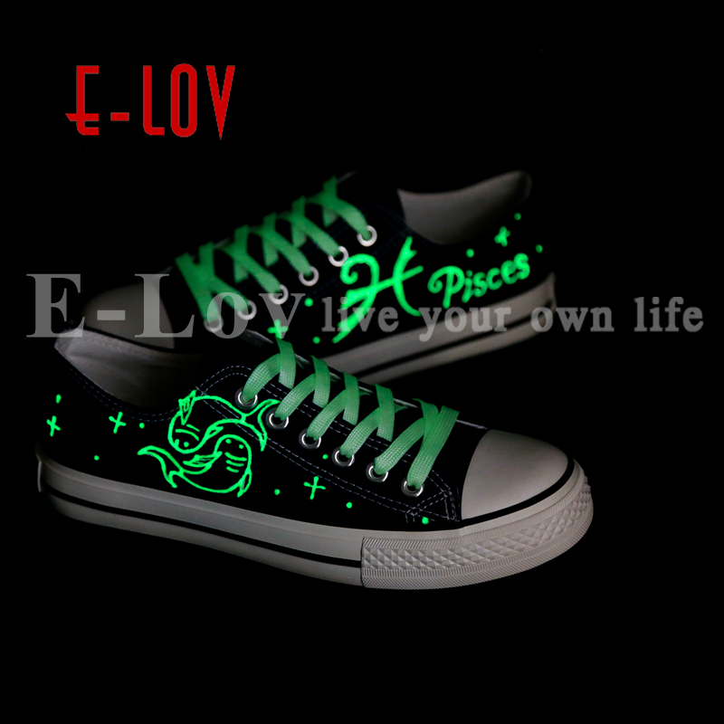 E-LOV New Arrival Luminous Canvas Shoes Graffiti Pisces Horoscope Couples Casual Shoes Espadrilles Women new arrival women s casual shoes graffiti leopard print 3 colors canvas shoes soft loafer women flat shoes hse16