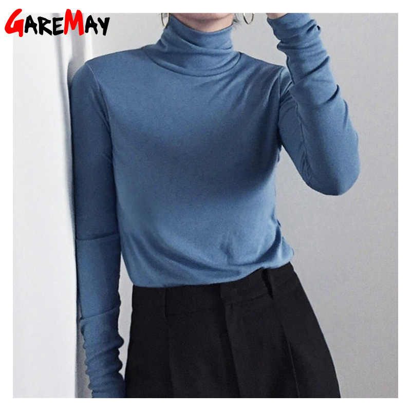 Garemay Turtleneck Long Sleeve T shirts For Women Slim Colorful Basic TShirt Female Spring Plus Size Women's Cotton T-Shirt