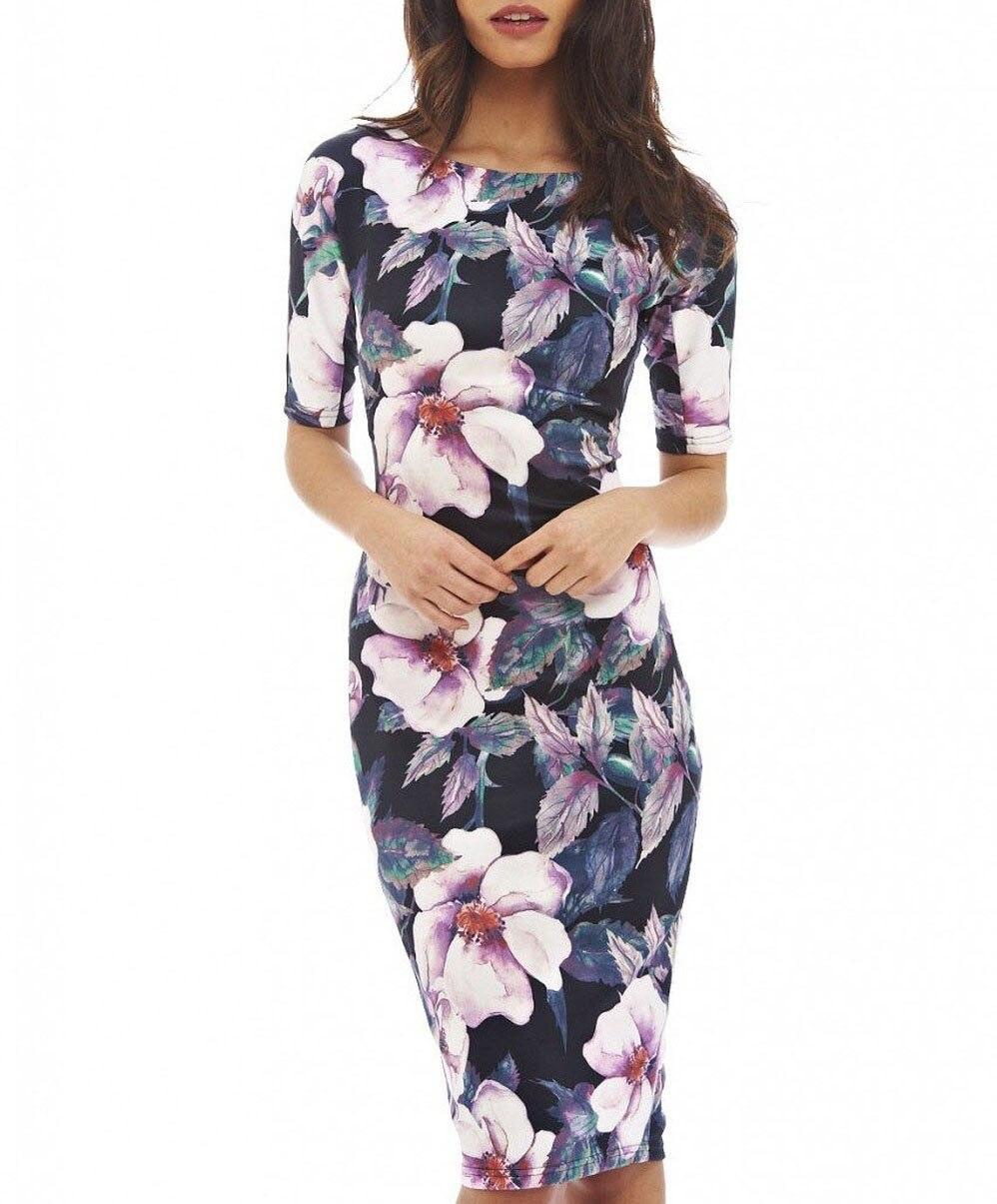 Женское платье элегантный Цветочный принт работы Бизнес Повседневное вечерние летнее платье vestidos 004-1