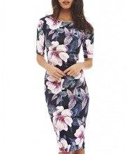 Women Dress Elegant Floral Print Work Business Casual Party Summer Sheath Vestidos 004-1