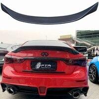 For Infiniti Q50 2014 2018 Real Carbon Fiber Car Trunk Spoiler Lid Fits Highkick Aluminum Rear Wing Spoiler Rear Trunk