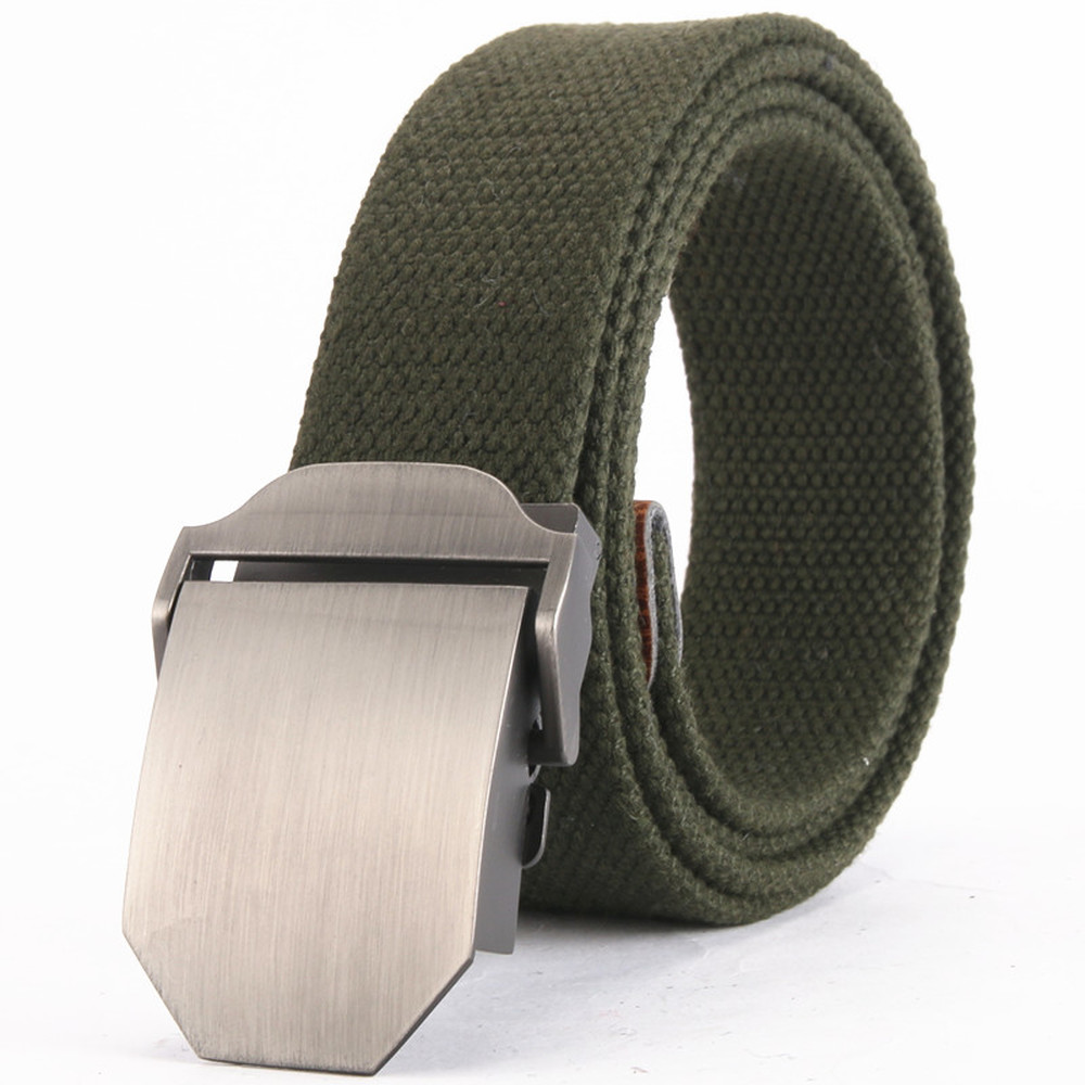 New Men&women Canvas Belt Solid Metal Buckle Luxury Jeans Belts For Man Vintage Tactical Belt Military Strap Male Outdoor
