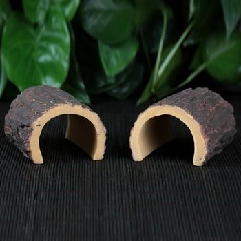 Emulational Arched Half Tree Shell Reptile Hide Rest Cave Pet Habitat Ornament Decoration
