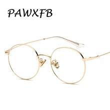 PAWXFB 2019 Vintage Retro Round Eyewear Frames For Women Men Glasses Fashion Optical Myopia Alloy gold Eyeglasses