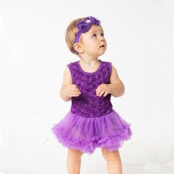 YK&Loving Floral Dress Purple Red purple Black Baby Girl Christening Gowns Sleeveless Tutu romper 2Pcs 0-24M Toddler